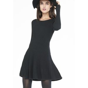 NWT Express Ribbed Fit & Flare sweater Dress Black